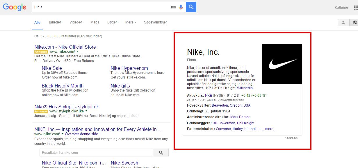 Billede af Nike i Google Knowledge Graph