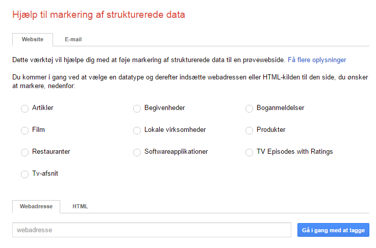 Google Markup Helper til at tilføje strukturerede data