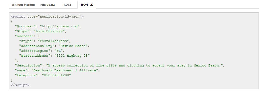 Eksempel på semantisk opmærkning med JSON-LD