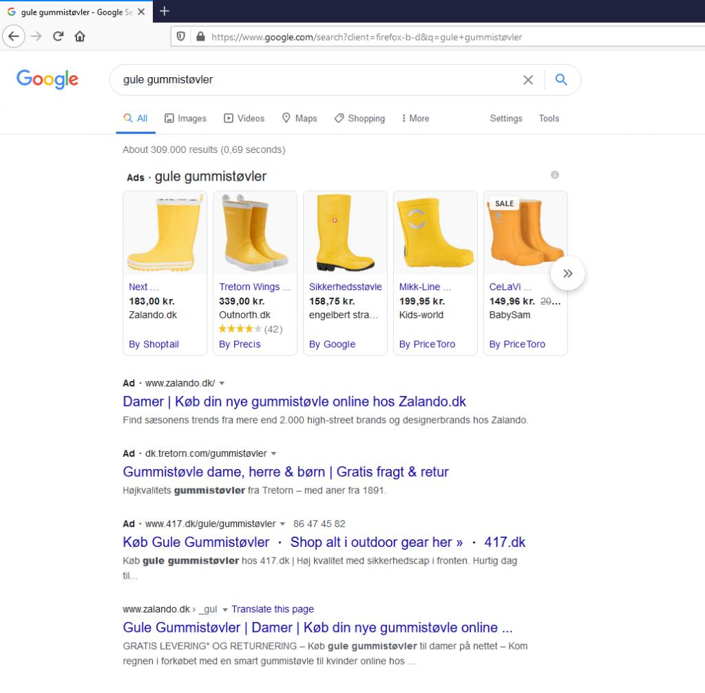 søgeresultat på 'gule gummistøvler' på Google