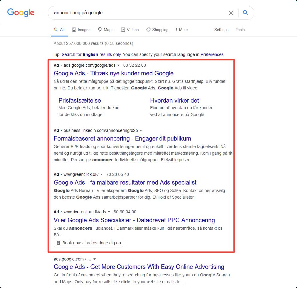 Betalte resultater i Googles SERPs