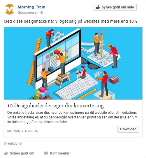 "Morning Trains Facebook lead ad med ""10 designhacks"""
