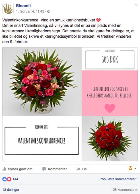 Bloomits Facebook-konkurrence i forbindelse med Valentinsdag