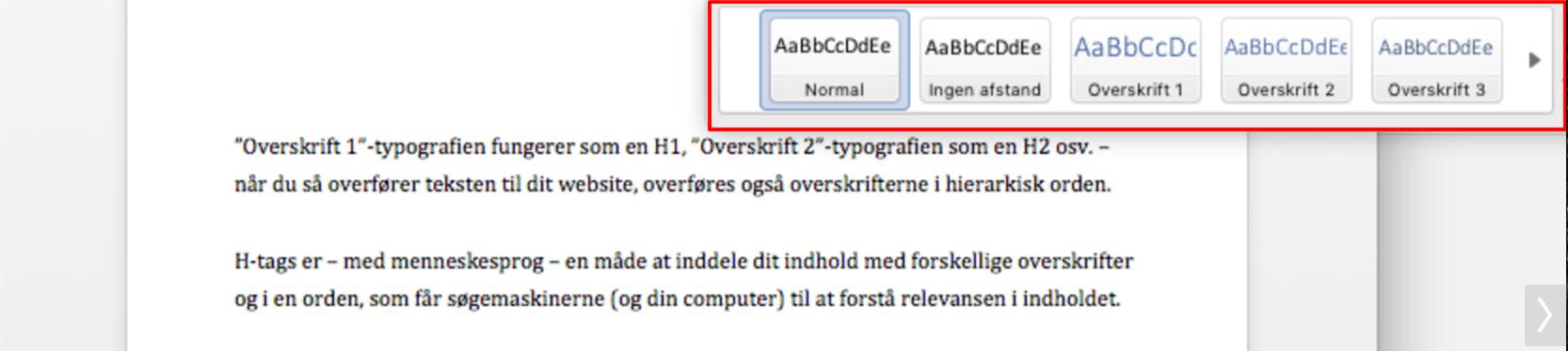 Billedet illustrerer typografierne i Office Word, som også kan benyttes som H-tags (HTML)