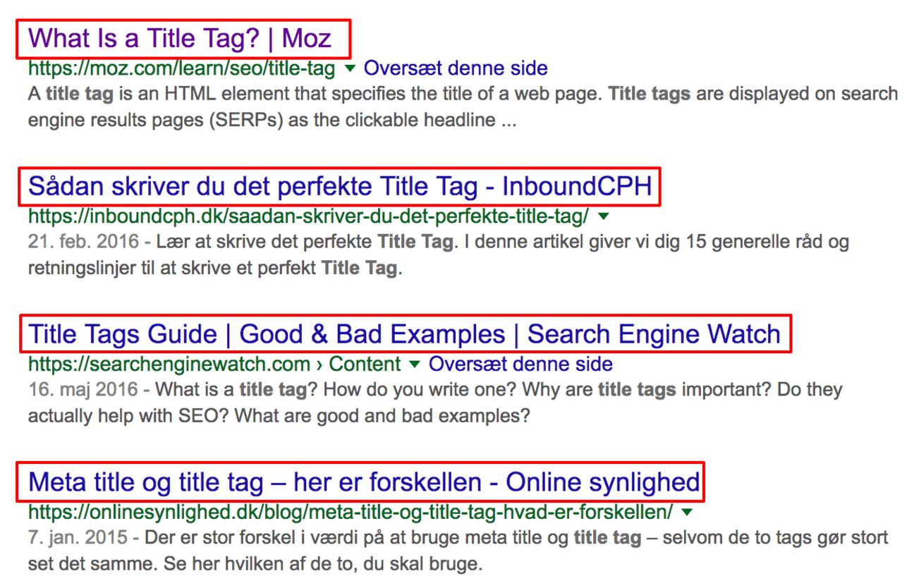 """Titel tags er """"navnet"""" på dit site"""