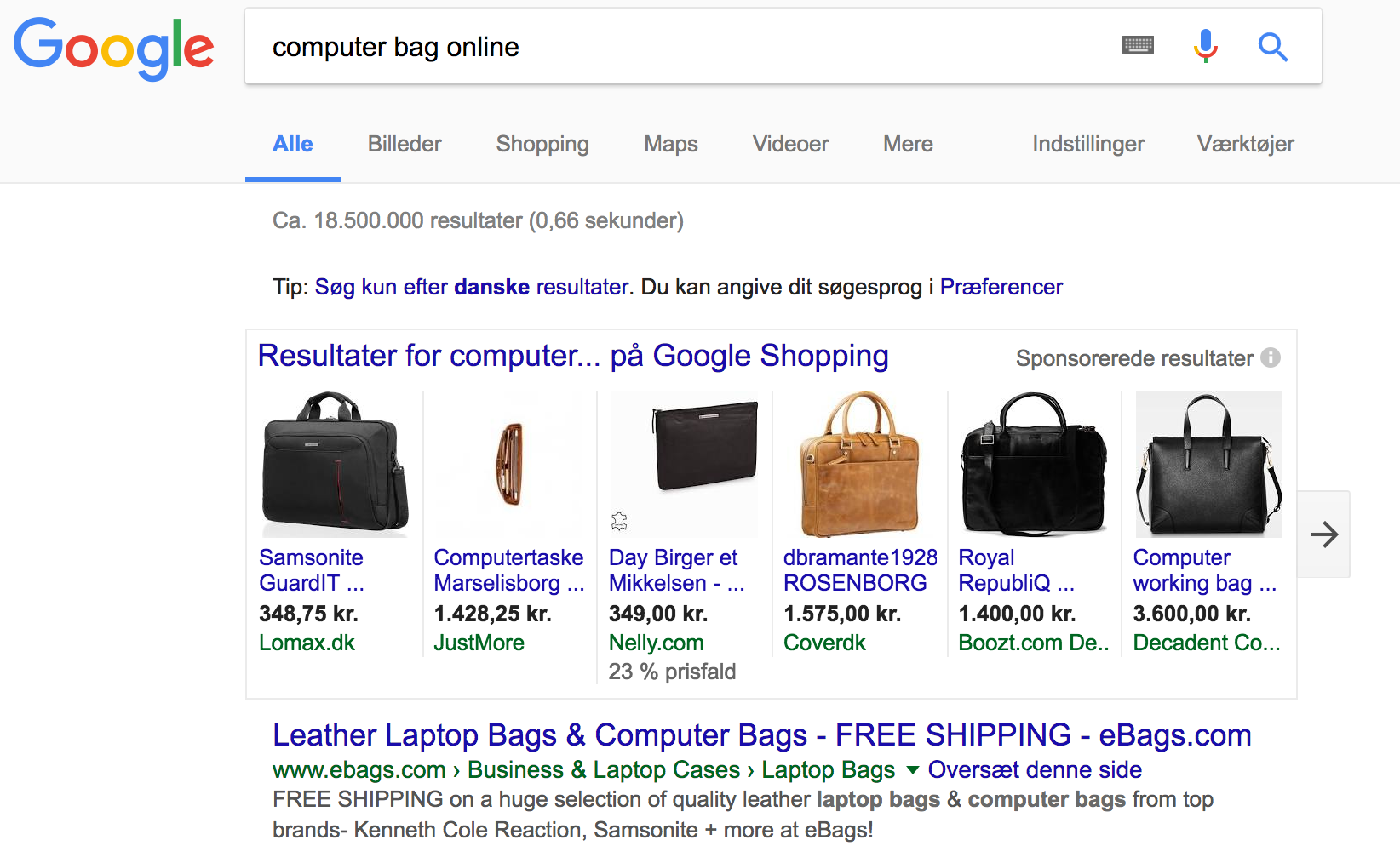 Google Shopping: Computer bags online-resultater