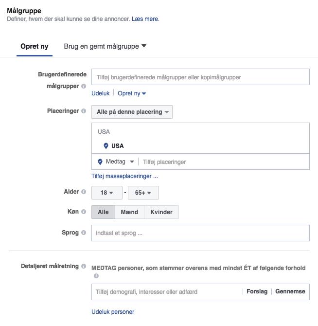 Layout i Facebook Business Manager: Definér mplgruppe, budgettet og tidsplanen