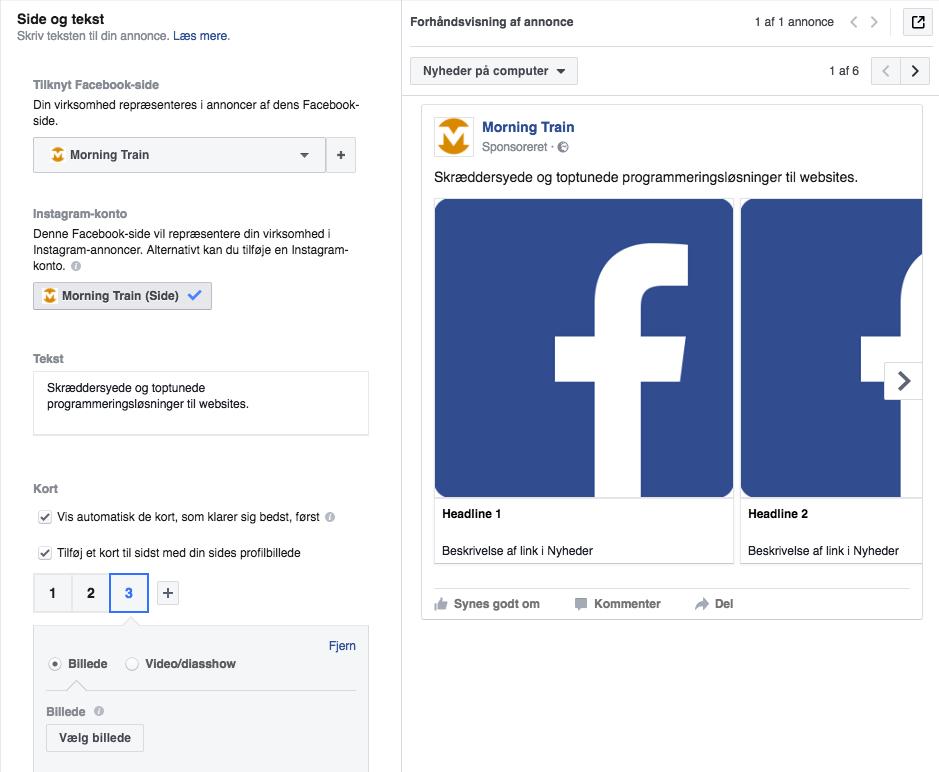 Facebook-kampagne i Facebook Business Manager: Side og tekst-definition