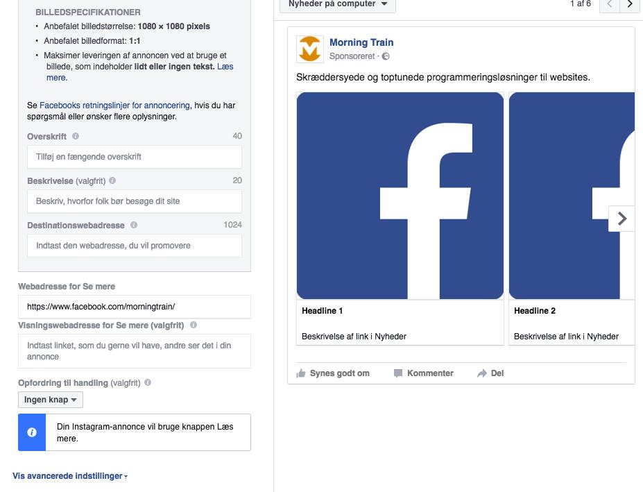 Facebook-kampagne i Facebook Business Manager: Side og tekst