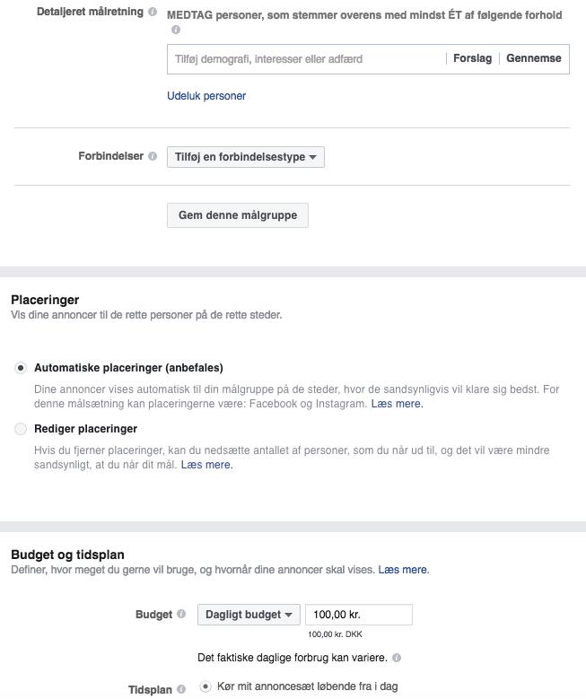 Leadgenereringsannonceringer i Facebook Business Manager: Side- og målgruppedefinition