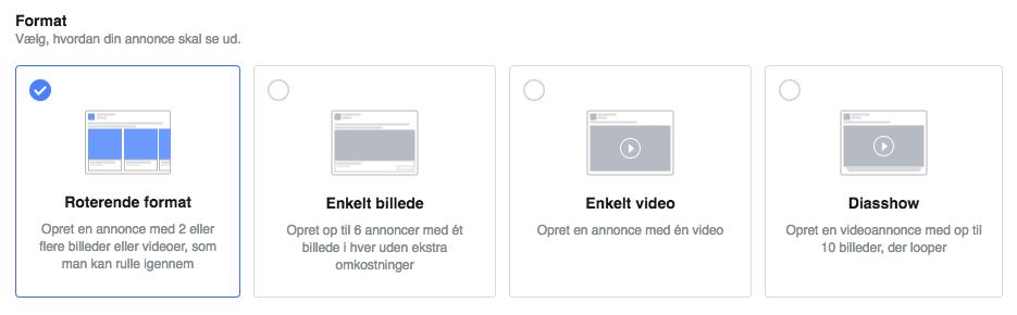 Leadgenereringsannonceringer i Facebook Business Manager: Vælg format