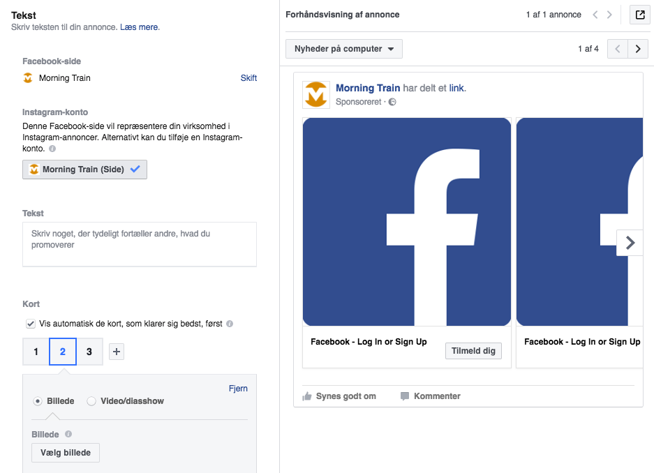 Leadgenereringsannonceringer i Facebook Business Manager: Skriv teksten