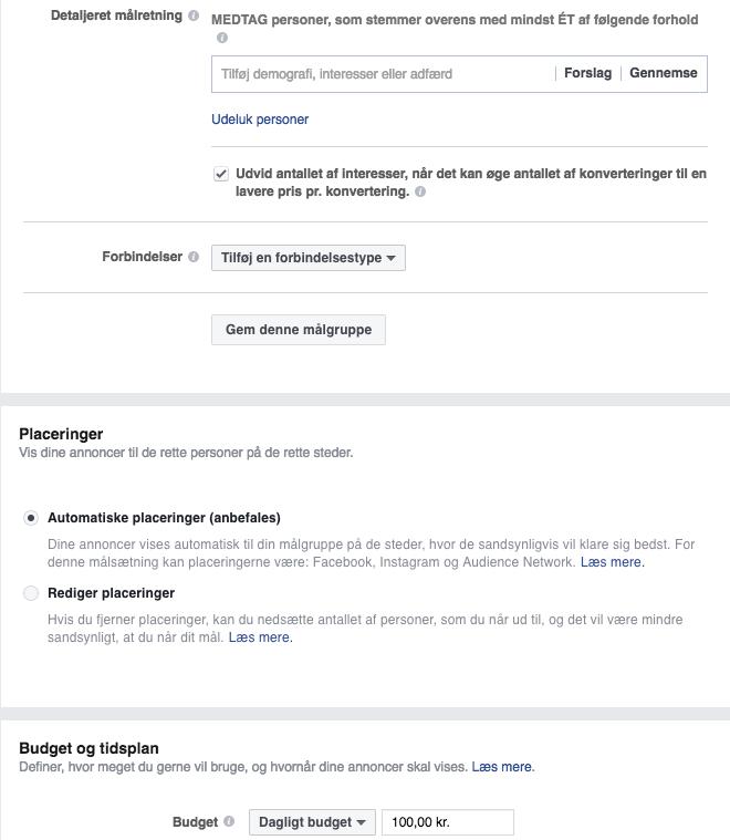 Konverteringskategorien i Facebook Business Manager (vælg målgruppe, demografi og tidsplan)