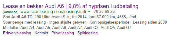 en Adwords-annonce vist i Google