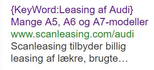 keyword insertion Google adwords