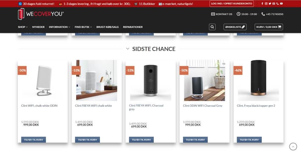 produkt overblik på webshop
