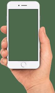 iphone i hånd uden skærm