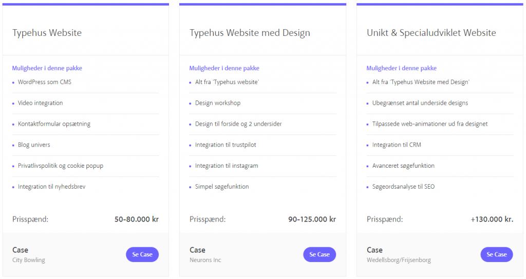 Vores hjemmeside design prispakker
