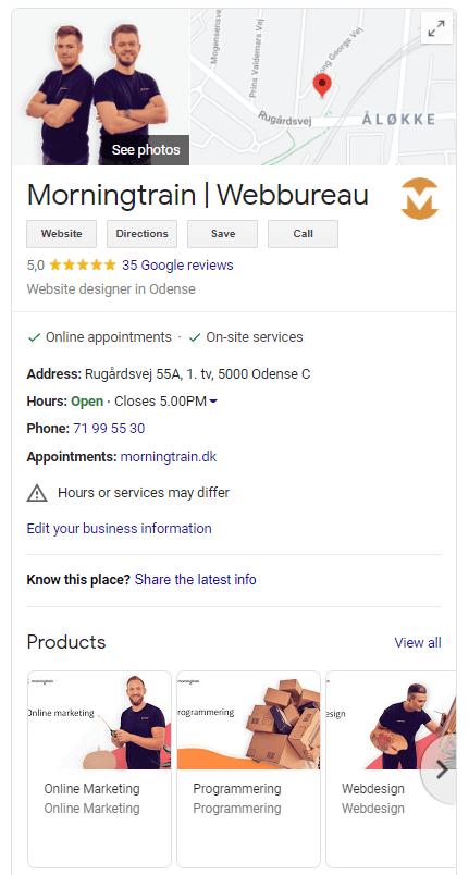 Eksempel af Morningtrains Google My Business listing