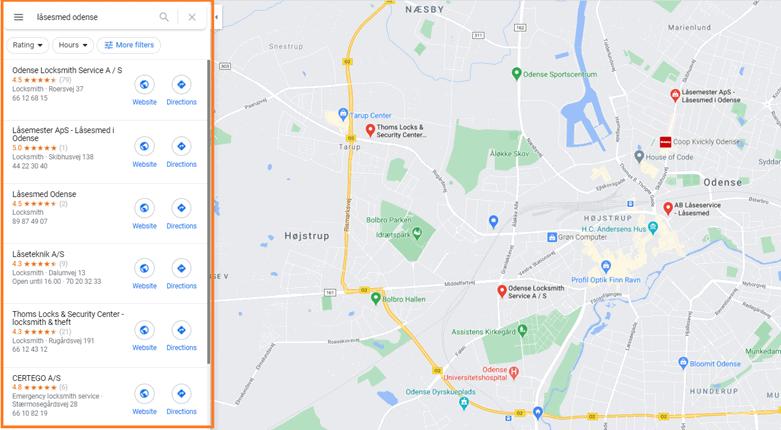 """Resultater af søgningen """"låsesmed odense"""" vises på Google maps"""