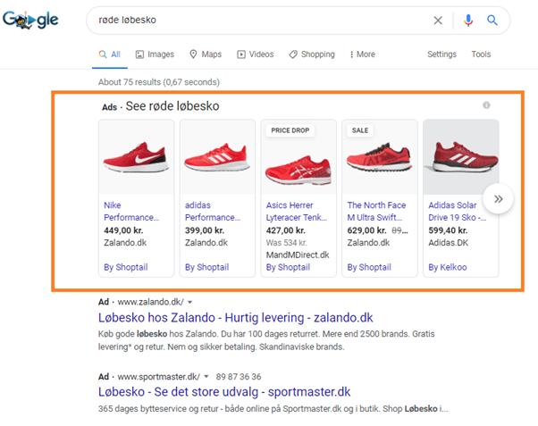 Eksempler på annoncer fra Google shopping