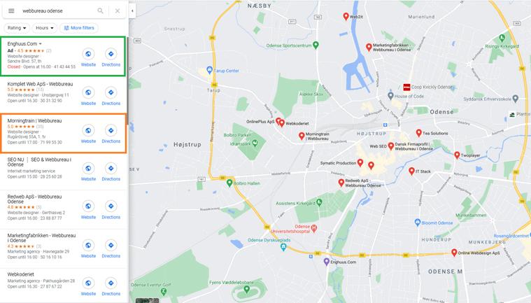 """Morningtrain bliver vist organisk i Google maps mens Enghuus.com annoncerer på søgningen """"webbureau odense"""""""